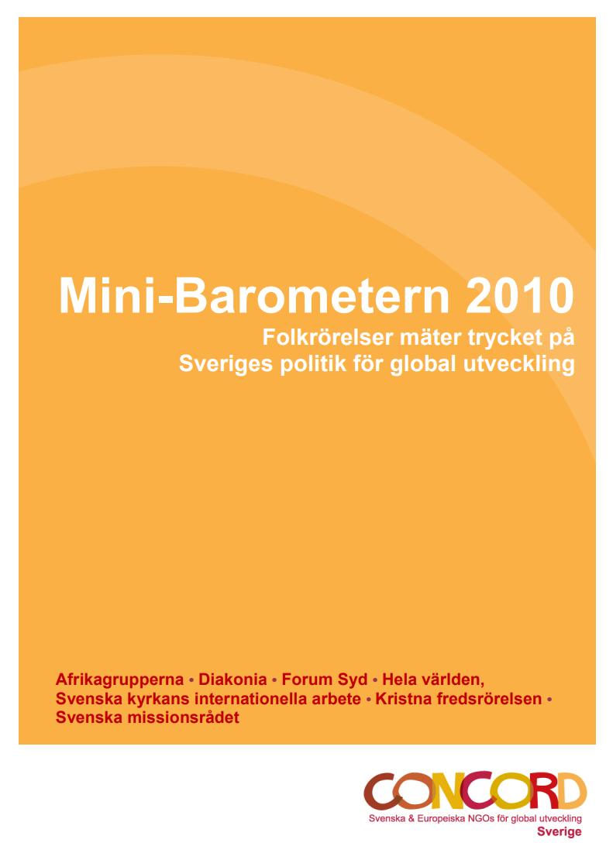 Mini-Barometer 2010, Folkrörelser mäter trycket på Sveriges politik för global utveckling