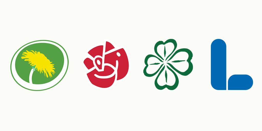 Partisymboler för MP, S, C och L