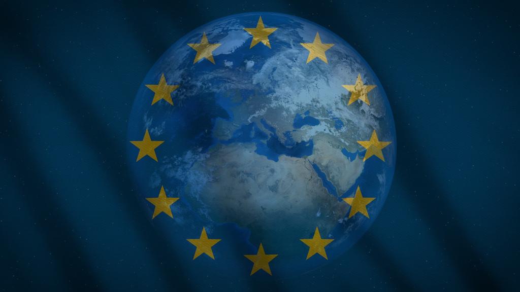 EU-flaggan framför jordglob