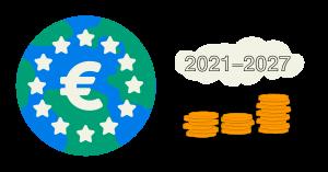 Jordglob och hög med mynt 2021-2027
