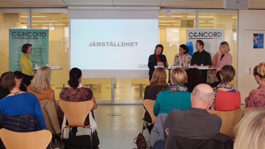 Politikerdebatt med Malin Björk (V), Abir Al-Sahlani (C), Anders Rehnberg (L) och Arba Kokalari (M).