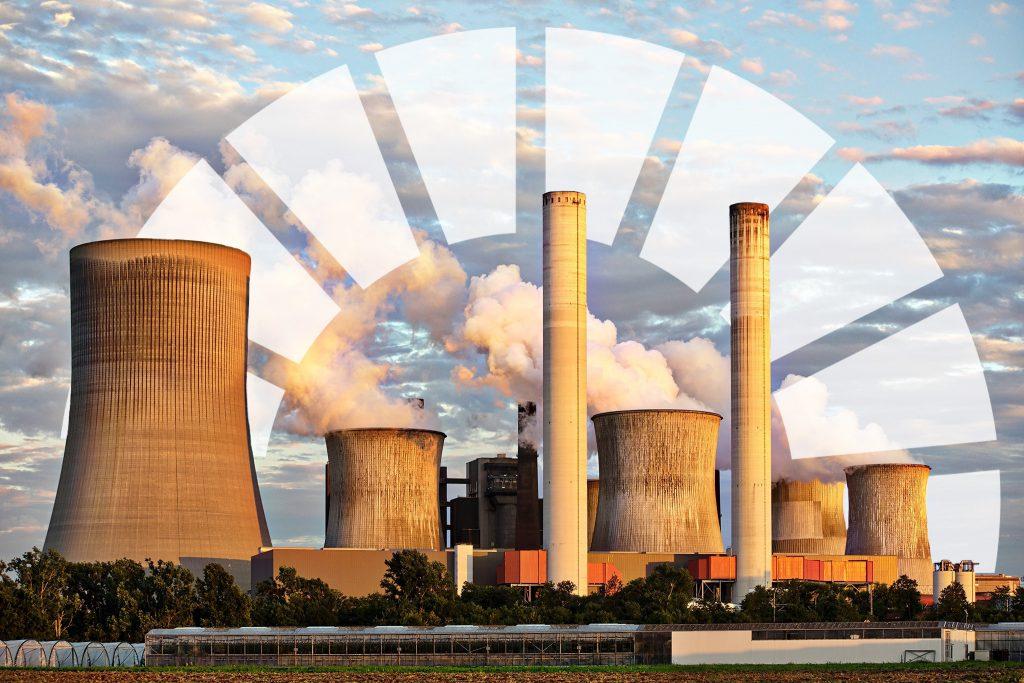 Fabrik med Agenda 2030 ikonen i bakgrunden