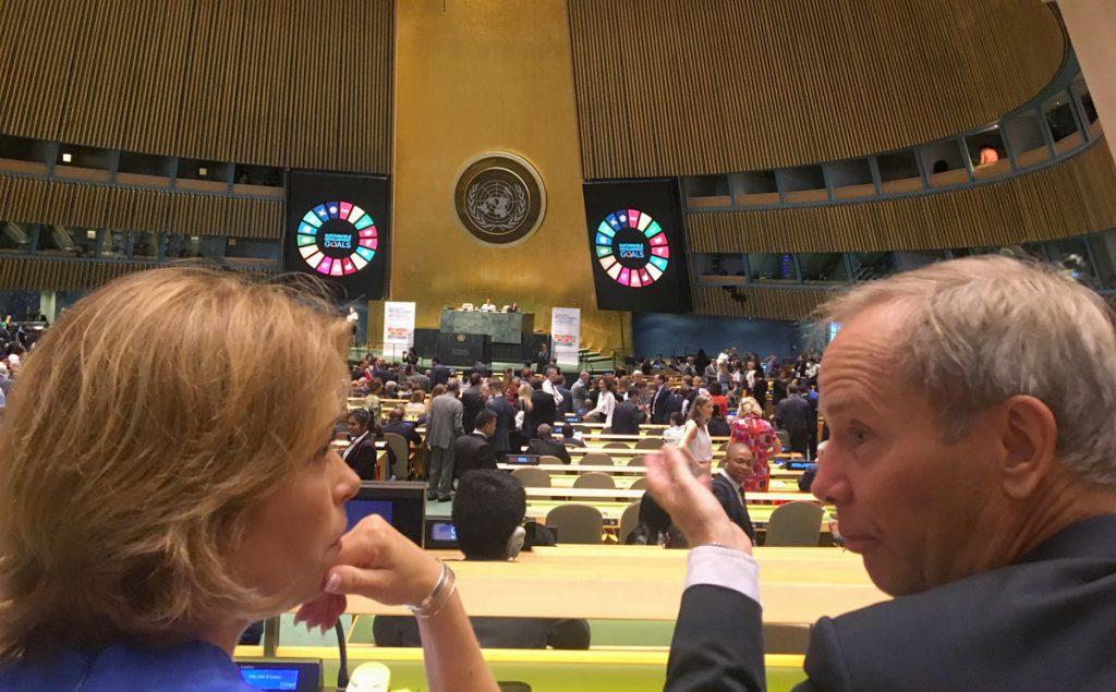 Socialförsäkringsminister Annika Strandhäll och Sveriges FN-ambassadör Olof Skoog under högnivåforumet i New York