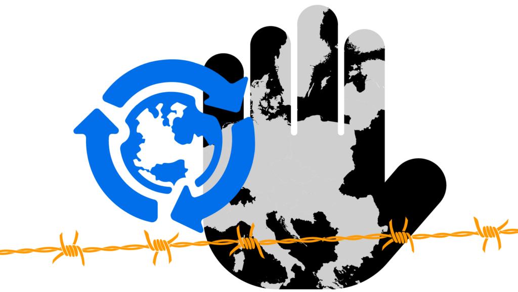 Karta över EU, hand som visar stopp, taggtråd och symbol för migration för utveckling