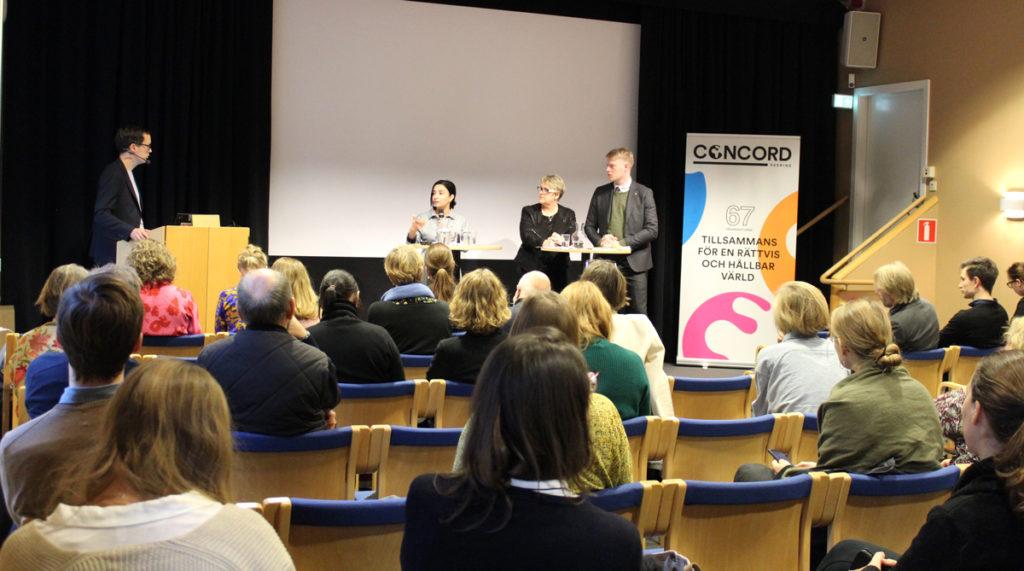 Evin Incir (S), Magnus Ek (C) och Désirée Pethrus (KD) på seminariet Sveriges röst i EU:s bistånd