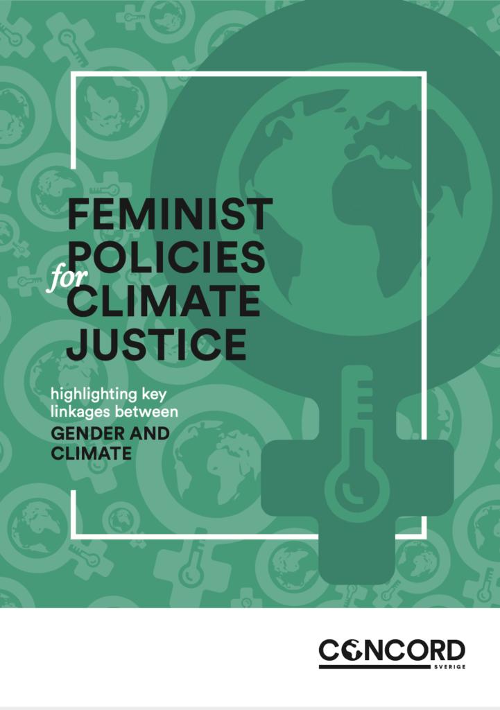 Framsidebild av rapporten Feminist policies for climate justice, en feministsymbol med en jordglob och en termometer i, med grönt färgfilter framför
