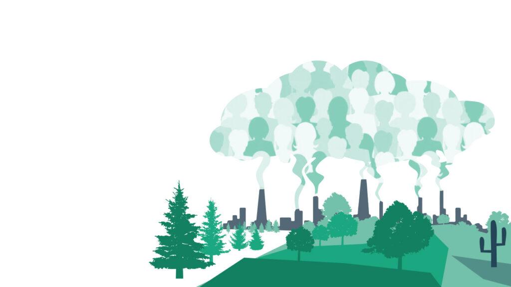 Träd, fabriker med rökmoln med människor i