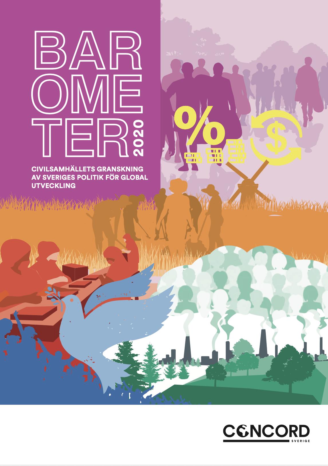 Framsida av rapporten Barometer 2020, illustrationer om jordbruk, klimat, migration, fred med mera