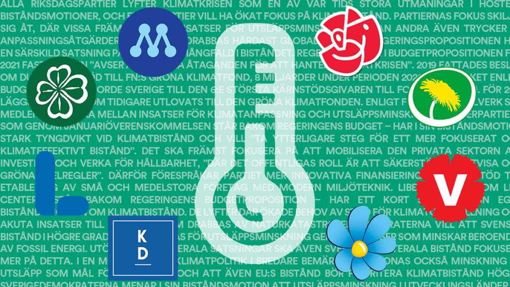 Riksdagspartiernas symboler och en termometer-symbol