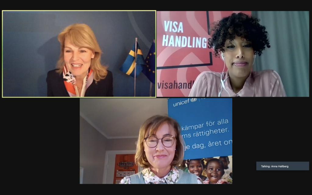 Digital överlämning med utrikeshandelsminister Anna Hallberg, Hewan Temesghen, generalsekreterare på Fairtrade Sverige och Pernilla Baralt, generalsekreterare Unicef.